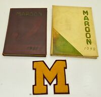 2 VINTAGE 1951 1952 Milwaukee Oregon Maroon  High school Yearbooks