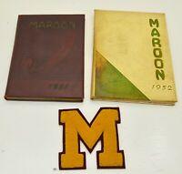 2 VINTAGE 1951 1952 Milwaukee Oregon Maroon  High school Yearbooks