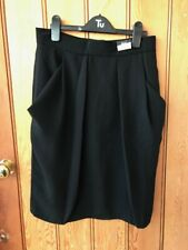 f and f black polyester crepe lined tulip skirt 10 12 18 bnwt pleated