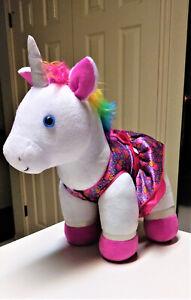 Build A Bear White Unicorn Rainbow Mane with Ice cream outfit