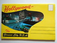 Early 1950's Color Postcard Folder for Hollywood California The Glamour City