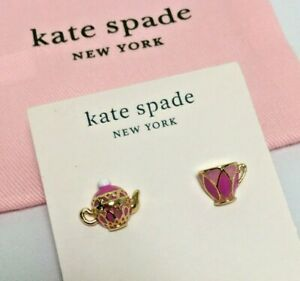 Kate Spade Tea Time Cup and Teapot Studs Earrings w/ KS Dust Bag New