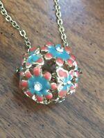 Vintage Enameled Round Ball Rhinestone Pendant Necklace