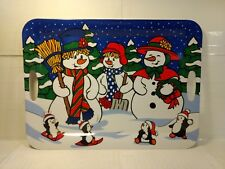 Snowman Family Christmas Holiday Large Plastic Serving Tray With Handles ch577