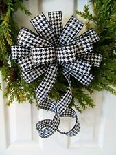 "10"" WIDE BOWS BLACK WHITE HOUNDSTOOTH CHECKS HALLOWEEN CHRISTMAS WIRED BOW"