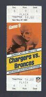 1983 NFL BRONCOS @ CHARGERS FULL UNUSED FOOTBALL TICKET -RICK UPCHURCH LAST GAME