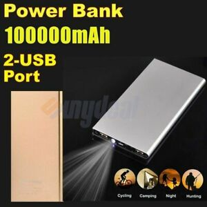 1000000mAh Power Bank 2 USB Fast Charging External Battery Pack Portable Charger