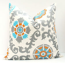 Decorative Pillows - Throw Pillow Covers - ONE 16x16 Orange Aqua Gray Rosa