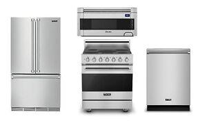 """Viking 3 Series 36"""" Refrigerator, 30"""" Electric Range, Microwave, Dishwasher"""