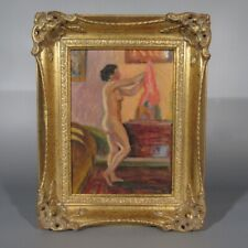 Vintage French Oil Painting, Nude Woman in an interior, Signed Jean Sauvegrain
