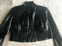 Elise Overland Patent Leather Cropped Jacket in Black with Bronze Signet Buttons