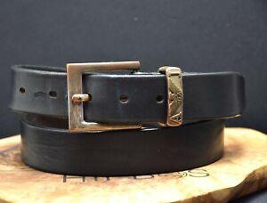 Armani Jeans Vintage Mens Leather Belt Black Size 34