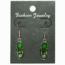 Boucles d'oreilles tong vert sandale strass - green flip flop sandal earrings