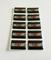 MITSUBISHI RALLIART 3D DOMED BADGE LOGO EMBLEM STICKER GRAPHIC DECAL EVO LANCER.