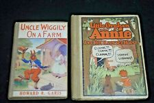 1ST ED UNCLE WIGGLY ON A FARM & LITTLE ORPHAN ANNIE HAUNTED HOUSE 2 BOOK LOT