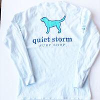 Womens Quiet Storm Surf Shop Long Sleeve T-shirt Light Blue Black Dog Small S
