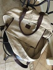 COLE HAAN LARGE OATMEAL LINEN TRAVEL BAG WITH LEATHER STRAPS got from LA