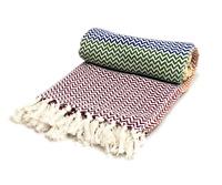 Contemporary Multi Rainbow Herringbone Cotton Sofa Chair Bed Blanket Throw Over