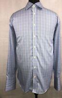 Charles Tyrwhitt Non-Iron L/S French Cuff Shirt Men's 17/35 Eur 44/89 Blue Check