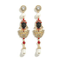 High End Rhinestone plus alloy LUCITE GLASS CRYSTAL BLACKAMOOR EARRINGS 4.7INCH