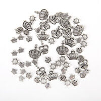 50Pcs Mixed Tibet Silver Crown Charm Pendants For DIY Necklace Jewelry Making yu
