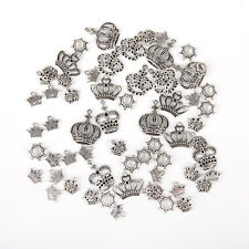 50Pcs Mixed Alloy Tibet Silver Crown Charms Pendants For DIY Necklace Jewelry aa