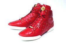 Versace Men's Red Studded Gold Medusa Logo High Top Sneakers Size 41.5 EU /8.5