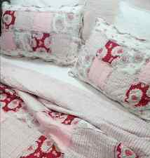 3Pc King Pottery Pink Antique Barn Chic Shabby Rag White Red Patchwork Bed Set