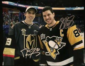 Sidney Crosby / Andre Fleury Autographed Signed 8x10 Photo (Penguins HOF)REPRINT