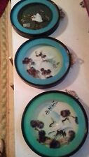 More details for  kitsch vintage x3 oriental 3d feathered birds dioramas signed cased beautufull