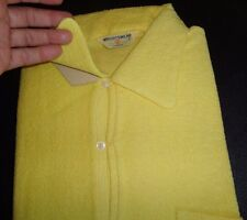 NOS 50's-60's WRIGHTWEAR Yellow 2 Loop Button Terrycloth Pullover! ROCKABILLY L