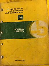 """John Deere 32 36 48 & 52"""" Commerical Walk Behind Mowers Technical Manual TM1305"""