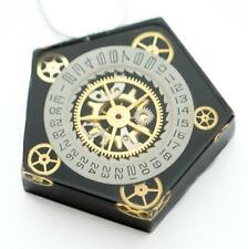 STEAMPUNK BLACK NECKLACE PENDANT PENTAGON WATCH PARTS GEARS RESIN  HAND MADE