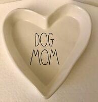 "Rae Dunn ""DOG MOM"" Ceramic Heart Trinket Candy Dish / Tray - Valentines NEW Rare"