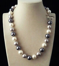 Shell Pearl Round Beads Necklace 18''Aaa 12mm Natural Black White Gray South Sea