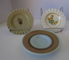 """3 Mixed Lot Saucers Ceramic Golds Brown Floral Leaves 3"""""""
