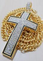 Luxury Men's 18K Gold Filled Necklace Chain Cross Pendant  set