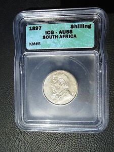 1897 South Africa 1 Shilling, ICG AU 58