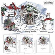 Christmas Scene, TRYFOLDS Unmounted Rubber Stamp Set ART IMPRESSIONS - NEW 4687