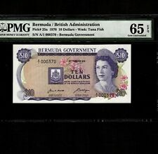 Bermuda 10 Dollars 1970 P-25a * PMG Gem Unc 65 EPQ * Queen Elizabeth *