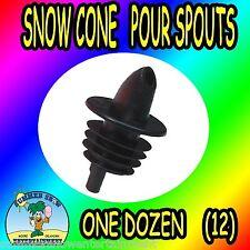 Shaved Ice/Snow Cone Bottle Pour Liquor Spout Dozen (Black) Concession Supllies