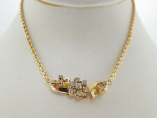"Genuine Diamonds Pendant Solid 10K Yellow Gold Necklace 16"""