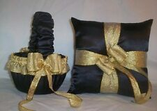 BLACK SATIN / GOLD METALLIC TRIM FLOWER GIRL BASKET & RING BEARER PILLOW # 1