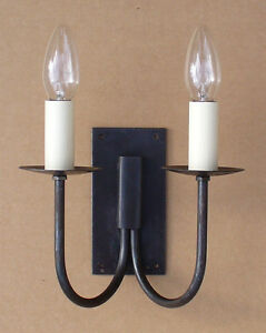 Rustic Cottage Double Wall Light Set Hand Forged Wrought Iron Black c/w fittings