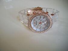 Fashion Designer Clear/Rose Gold Finish 3D Boyfriend Geneva light weight Watch