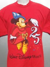 vtg Walt Disney World Wizard Mickey 25th Year Anniversary red T Shirt size Large