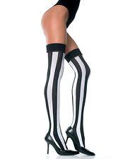 Thigh Hi Neon Pink Black Stripes Stockings DESIGNER Lingerie P4219