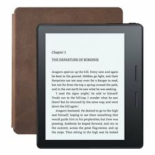 "NEW AMAZON KINDLE OASIS+LEATHER CHARGE COVER WALNUT 6"" WIRELESS EREADER ~ BUNDLE"