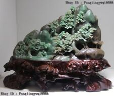 "10"" Chinese Art Sculpture Natural Green Dushan Jade Mountain Pine Tree Statue"