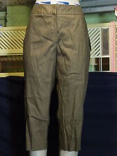 Women's Petites Judith Hart size 12P Brown stretch Linen Capri pants NWT